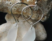 Frosty Drops....sterling and sea glass earrings
