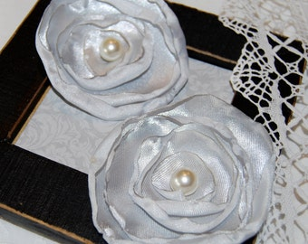 CLEARANCE: 2  Fabric Flowers - Silver Gray Poppy - layered satin poppies with heat curled edges and pearl center embellishment accent
