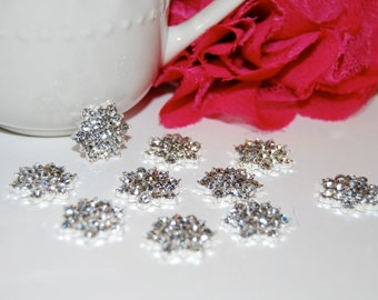 """6 rhinestone button Crystal  flower centers buttons flat back  18mm 1/2"""" size  - silver rhinestone embellishment  accent metal component"""