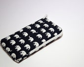 iPhone  or Any Yor Phone or iPod Zipper Case Made to Order - White Elephants on Dark Blue