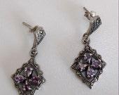 SALE Vintage  NOS Sterling Silver amethyst  marcasite dangle earrings