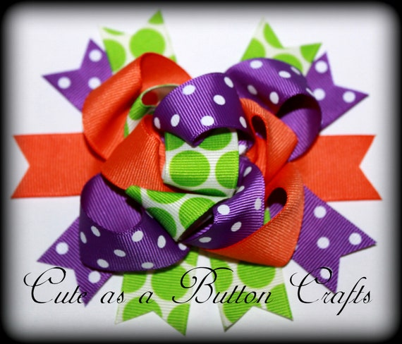 Funky Fall halloween loopy mix and match  Boutique Hairbow, Halloween hair bow purple orange and green