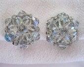 Mad Men Vintage Bling Crystal Earrings Aurora Borealis