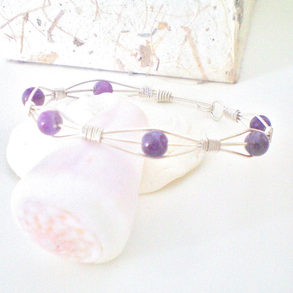 purple wire wrapped bangle bracelet