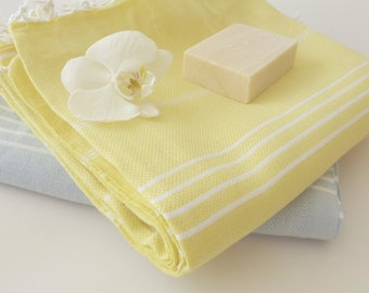 SALE 25% OFF Classic Turkish Towel, Peshtemal, Natural Soft Cotton Bath, Spa,  towel, Mother's day gift, Yellow , gift