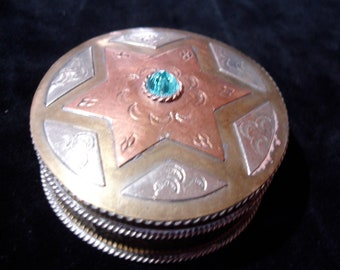 Moroccan copper and brass hand engraved pill box pot with turquoise jewel
