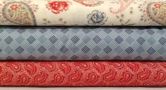 Fabric Bundle of 3 Prairie Paisley II By Minick and Simpson for Moda - quilting fabric - cotton fabric