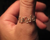 2012 LONDON wire spelled in one MADE to ORDER Ring for the olympics