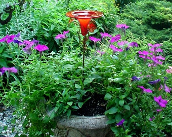 PATIO GARDENING, Hummingbird Feeder, stained glass, copper, red, Home Decor, Garden Stake