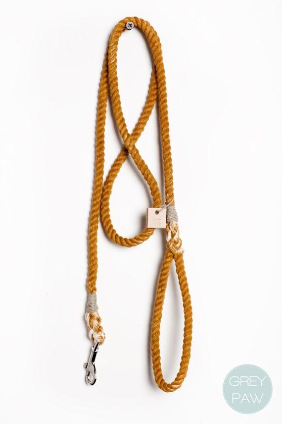 Rope dog lead dog collar pet supplies dog leash: Small or medium rust cotton rope leash