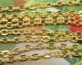 """Long One Chain  egg Loop Yellow Chain on Copper Metal   Chain 2mmx3mm--- 38"""" ---1m"""