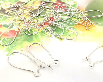 Earring kidney Hooks Luster on Bronze Filigree Metal 25mm---100pieces---3Mo