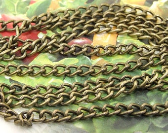 "Long One Chain Oval Loop Twist Copper Metal  Chain 3mmx2mm---  38""  Long Chain ,Bronze Chain, Twist Chain ."