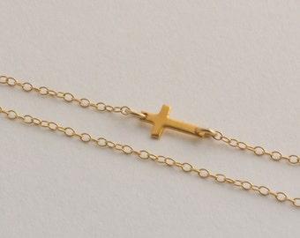 Sideway Cross Gold Filled Necklace - Tiny Cross - Dainty Cross - Taylor Jacobson- Kelly Ripa