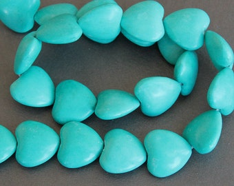 SALE - Chalk Turquoise Large Heart Beads 18mm (4 Beads)