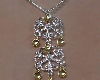 Melkorka - Traditional Norwegian Solje Style Filigree Silver Plated Double Cloverleaf Necklace with golden drops