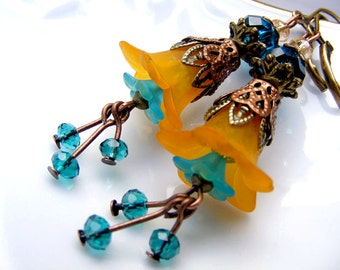 Dangle earrings,lucite flower earrings,orange teal earrings, valentine beadwork earrings, drop eco cluster, shabby style vintage boho bell