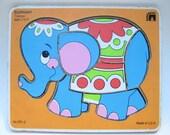 Vintage Seventies Circus Elephant Wooden Puzzle