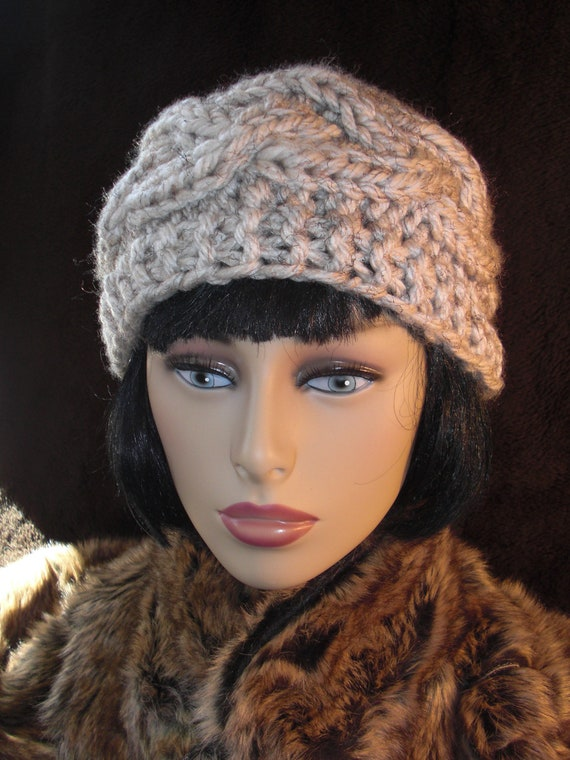 Hand Knit Womens Hat.  Chunky Knit in Cable. READY TO SHIP.  Many colors available - Grey, Blue, Tan, Ivory and Black.