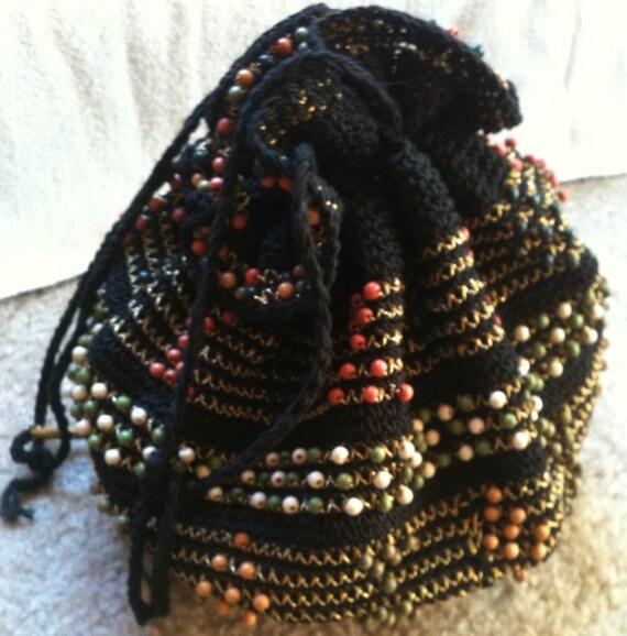 RESERVED For DELORES VIntage Black Corde Beaded Crochet Drawstring Hand Bag