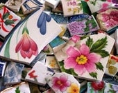 FREE SHIPPING 209 Mixed Lot Grab Bag w Many Different Styles of Mosaic Tiles Tesserae Handmade Cut Nipped Plates Dishes Flowered Mosaics