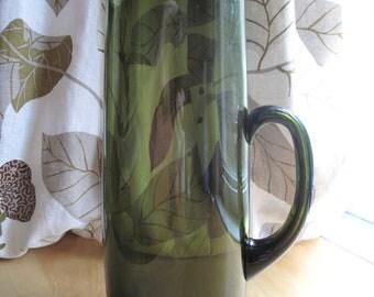 tall emerald green glass martini pitcher