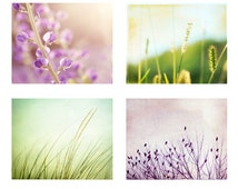 Nature Photography Set, Four Photographs, light purple green lavender pastel white floral nature flower pale botanical wall art spring print