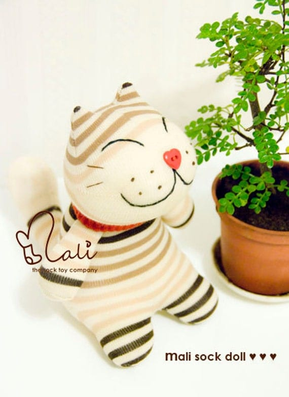 "Mali Sock Doll, Sock Kitty, Brown Stripes Beige Japanese Lucky Cat Soft Toy, ""Neko"""