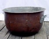 Very Large Antique Copper Cauldron/ Pot/ Basin