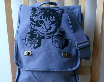 Kitty Cat Canvas Field Bag Messenger Bag