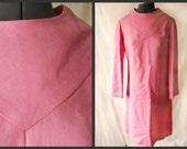 vintage 60s bubble gum pink linen mod shift day dress