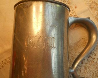 Vintage Reed And Barton P31 Glass Bottom Mug, MGM Monogrammed, Silverplated Possible Pewter Handle Vintage Barware Housewares Serving