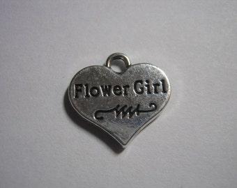 "Silver Tone ""Flower Girl"" Charm  (1128)"