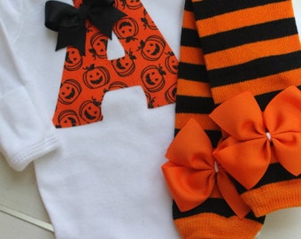 Newborn Baby Girl Outfit for Fall and Halloween -- Leg warmers and Initial Bodysuit -- fun orange and black applique
