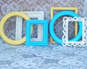 beachy frame grouping shabby creamy white warm yellow aqua shabby chic summer home cottage chic