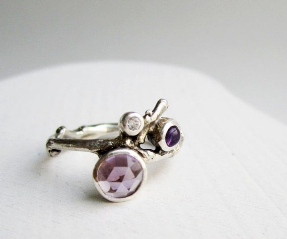 Double Amethyst, White Sapphire Silver Twig Ring