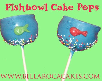 Fishbowl Cake Pops / 1 Dozen / Ocean, Sea, Fish, Chocolate, Party, Birthday, Children