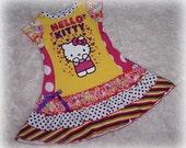 Boutique Custom Upcycled Knit Kitty Retro Ruffle Dress 4 5 6