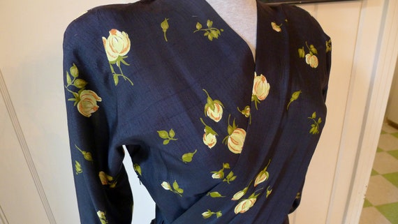 Lovely 1940s Silk Rayon Sarong Swag Peplum Dress in Black with Lovely Tulips--M,L
