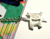 Monster Necklace- Sterling Silver Pendant Charm