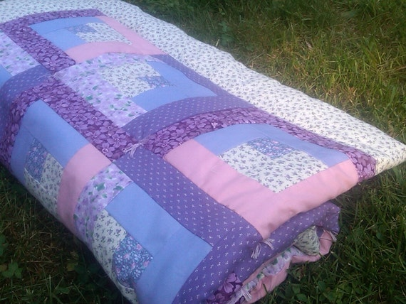 Log Cabin Style Baby Girl Crib Quilt