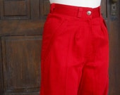 Radical Red High Waist Trousers with Pleats and Zipper details 1980s xsmall