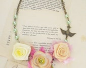 Romantic garden rose necklace shabby chic statement jewelry