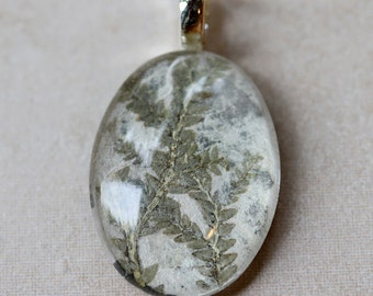 Go Green oval handmade paper pressed real leaves light green 1 1/4 inch glass pendant eco friendly