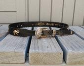 Vintage black Leather western Boho belt, Silver buckle animals, Silver Creek by Leegin,  Small Medium 30