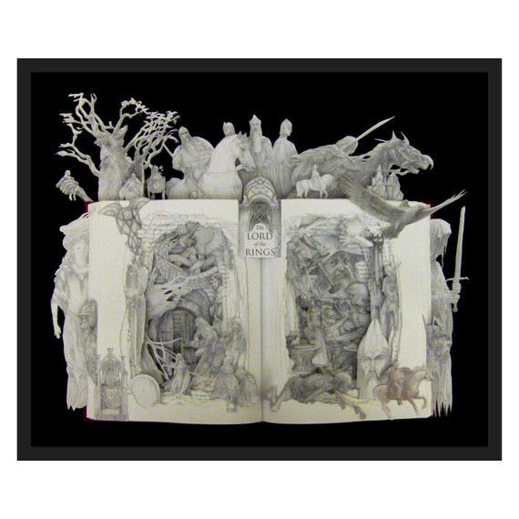 Lord of The Rings... - 16x20 One of a Kind Book Sculpture - Framed Altered Book