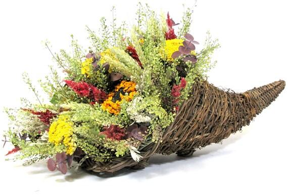 dried flower arrangement, autumn centerpiece, harvest arrangements, cornucopia