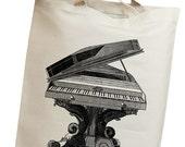 Grand Piano 02 Vintage Eco Friendly Canvas Tote Bag (ihm002)