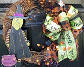 Fall Wreath Halloween Wreath Autumn Wreath Witch Ghost Candy Corn