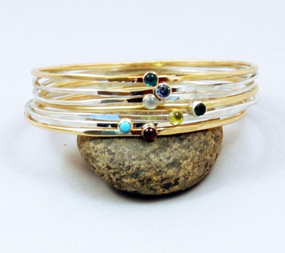 7 Stacking Bangles, Mothers Bracelet, Silver Bangles, Gold Toned Red Brass Bangle, Mixed Stones, Create Your Own